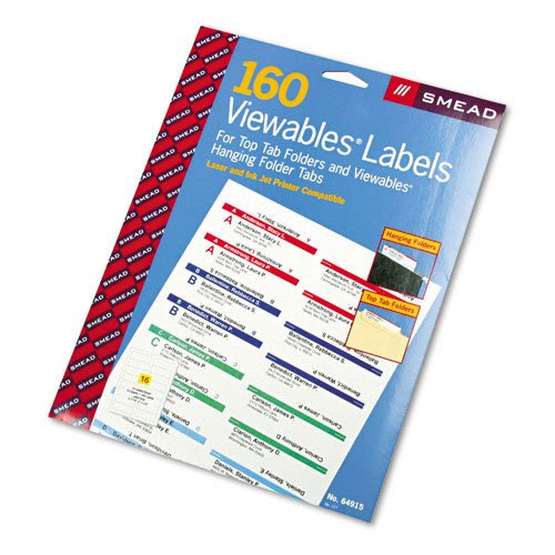 (Smead : Viewables Color Labeling System, Label Pack Refill, 3 1/2in, White, 160/Pack -:- Sold as 2 Packs of - 160 - / - Total of 320 Each)