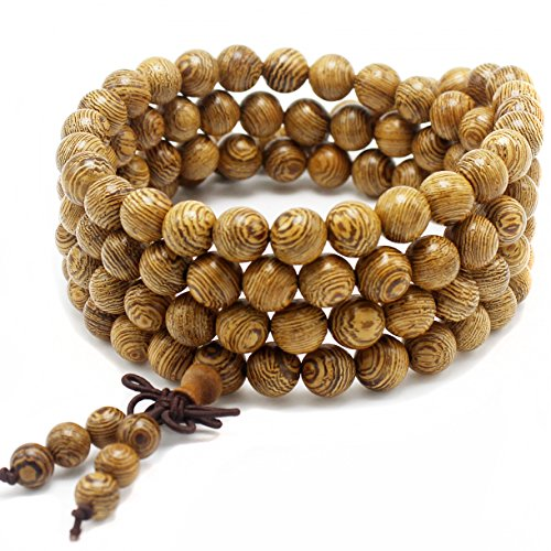 anzhongli mala Beads Bracelet 108 8mm Beaded Bracelet Sandalwood Elastic
