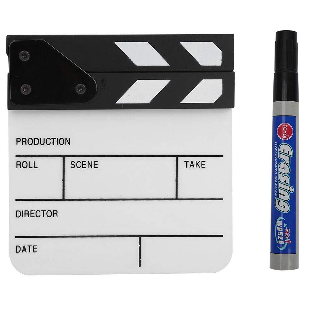 Senyar Clap Board,Mini Acrylic Director Scene Clapperboard TV Movie Action Board Film Cut Prop with Pen,1516.52.5cm/5.9 6.51inch(White/Black) by Senyar