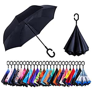 AmaGo Double Layer Inverted Umbrella - Upside Down Inside Out Reverse Umbrella,C-Shape Handle & Self-Stand to Spare Hands, Carrying Bag for Traveling (Black)