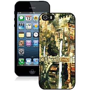 Fashion Custom Designed Cover Case For iPhone 5S Phone Case With Anime City Painting_Black Phone Case