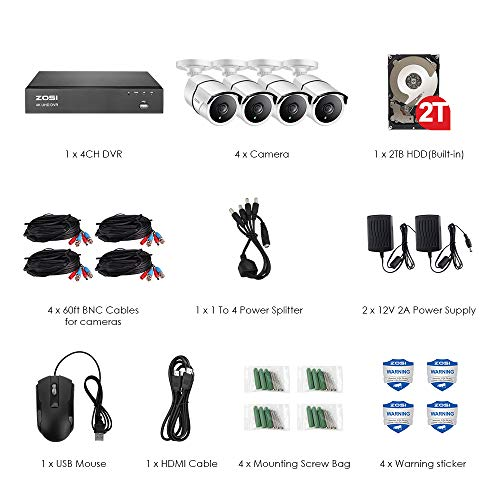 ZOSI 4K Ultra HD Security Cameras System,4 Channel H.265+ 4K (3840x2160) Video DVR with 2TB Hard Drive and 4 x 4K (8MP) IP67 Bullet Weatherproof Surveillance Cameras,100ft Night Vision, Motion Alert
