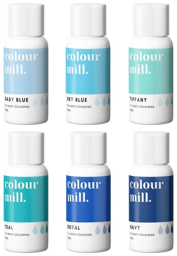 Colour Mill Oil-Based Food Coloring, 20 Milliliters Each of 6 Colors: Baby Blue, Navy, Royal, Sky Blue, Teal and Tiffany