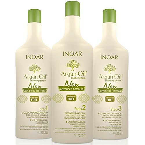 INOAR Brazilian Argan Oil Hair Hair Straightener System - Smoothing Capillary (3 X 1 LITRE) by Inoar