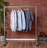 Industrial Pipe Rolling Clothing Rack Galvanized Silver Pipe with Wheels by William Robert's Vintage