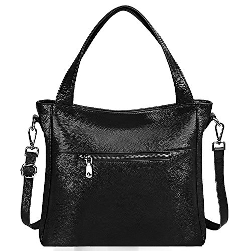 Handbag Cowhide Genuine Black Tote Lightweight ZONE Shopping Shoulder S Ladies' Bag Bonzer Black Leather Soft Women's Purse Classic Fashion Crossbody q6xfIwtCp