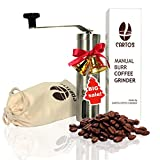 #2: Cartos Manual Coffee Grinder - Portable Hand Grinder - Conical Burr Mill with PA 6 and Ceramic - Stainless Steel Design - Perfect for Traveling to brew PourOver, Drip, Chemex, Cold Brew, French Press