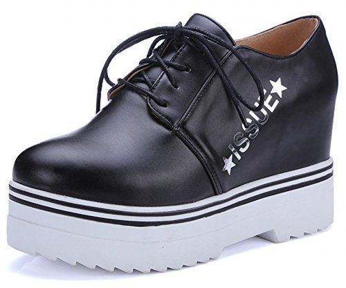 Summerwhisper Womens Casual Letters Lace up Round Toe Platform Sneakers Heighten Inside High Heel Pumps Shoes Black 8oH8ExW2c