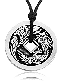 Lucky Dragon Chinese Coin Necklace Pendant, Fine Pewter Jewelry