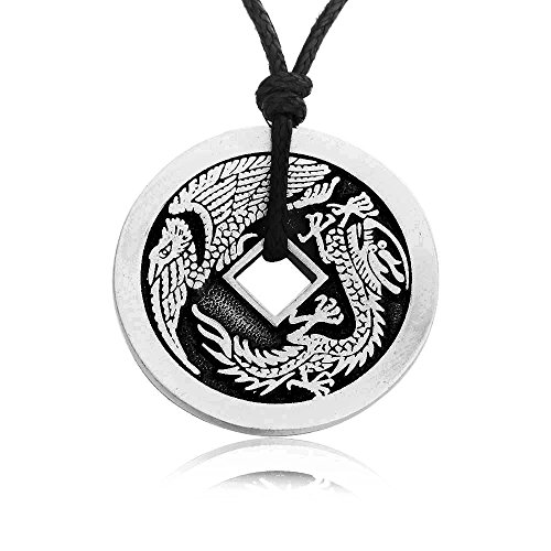 Fine Pewter Necklace (Dan's Jewelers Lucky Dragon Chinese Coin Necklace Pendant, Fine Pewter Jewelry)