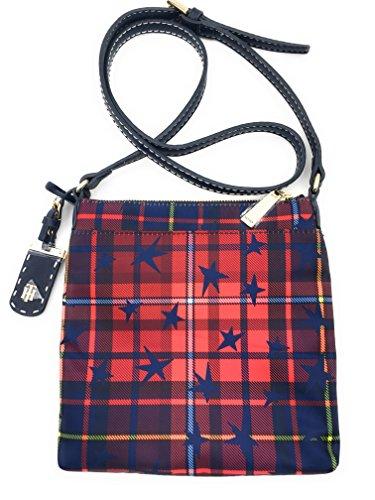 Tommy Hilfiger Handtasche *XBODY* Kuriertasche 22x22x3cm, rot-dunkelblaue Sterne, mit goldenen TH Logo Anhänger, Damen