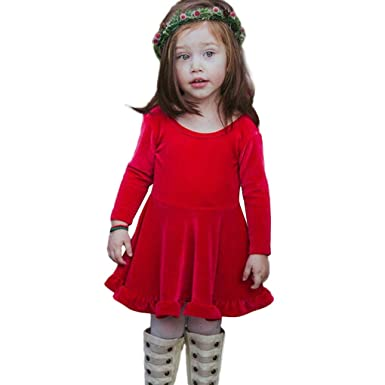 1aa80e098d9 Susenstone Robe Fille Ceremonie De Princesse Enfant BéBé Mignon Pas Cher  Mode NoëL Carnaval De d