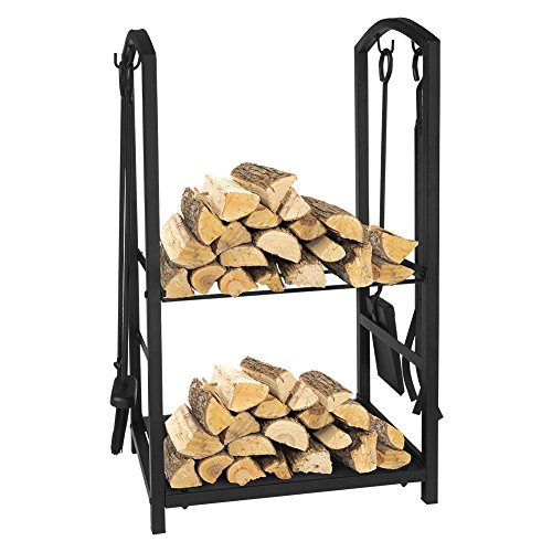 Babylon Fireplace Tools Log Rack Set with 4 Piece Tools Wrought Iron Black Fireplace Tools Firewood Holder Carrier Storage Rack with Brush Shovel Poker Tongs for Indoor Outdoor, 29.3 x 11.8 x 17.8in