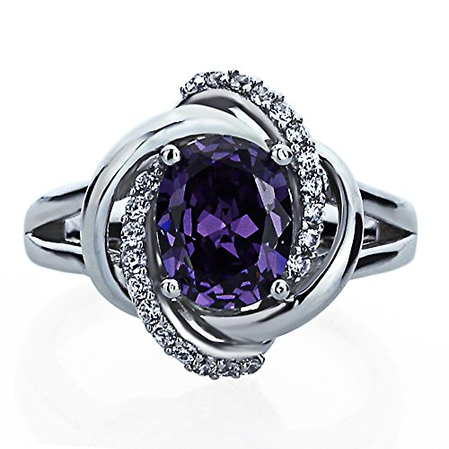 Double Accent Sterling Silver Celtic Love Knot 2ct Oval Simulated Amethyst CZ Cocktail Ring Size 5 to 9
