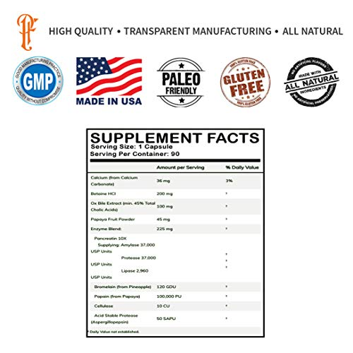 Physique Formula Performance Digestive Enzymes With Betaine HCL Pepsin, Pancreatin 10X...