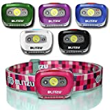 led headlamp kids - BLITZU Brightest Headlamp Flashlight Gear 165 Lumen with Bright White Cree Led + Red Runner Light for Kids, Men, Women. Perfect for Running, Camping, Home Projects, with Adjustable Headband PINK