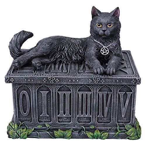 Fortune's Watcher Tarot Box - Black Cat Tarot Box - Nemesis - Wicca Pentagram Storage Box by Nemesis Now Ltd (Image #1)