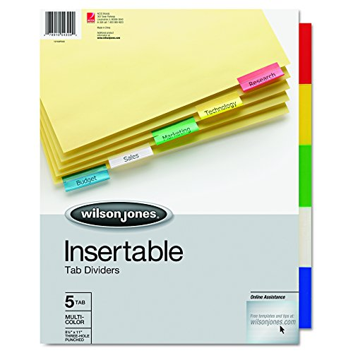 - Wilson Jones 54309 Single-Sided Reinforced Insertable Index, Multicolor 5-Tab, Letter, Buff