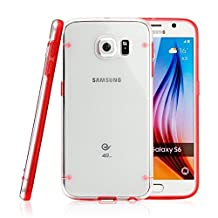 Tech Express (Tm) Red Slim Line Bumper + Ultra Thin Transparent Translucent Clear Hard Luminous Glowing Fun Glow in the Dark Back TPU Cover Case for Samsung Galaxy Note 5 G920