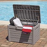 Kreher Sitztruhe, Kissenbox Florida in Hellgrau. Mit 120 Liter Nutzvolumen und abschließbarem Deckel mit Gasdruck-Federn. Maße 73 x 50,5 x 46,5 cm