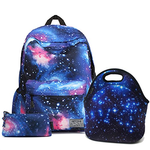 "Price comparison product image Artone Blue Universe Casual Daypack Fit 14"" Laptop with Galaxy Pencil Case and Lunch Bag"
