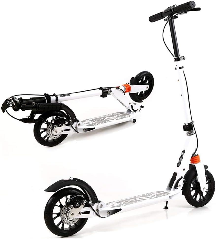 キックボード キックスクーター 大人のキックスクーター、ディスクハンドブレーキ付き、折りたたみ式調節可能スクーター、フロント&リアショックアブソーバー、サポート220ポンド、非電気 (色 : 白) 白
