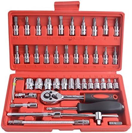 per veicoli a motore bicicletta strumenti di riparazione 46-piece 1//10,2/cm bussole e punte per cacciavite con chiave a cricchetto