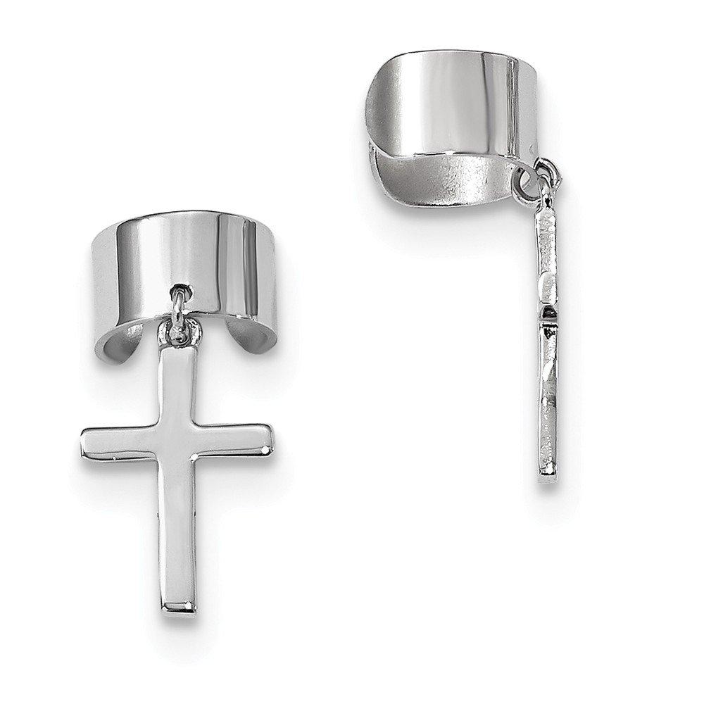 Diamond2Deal 925 Sterling Silver Rhodium-plated Cuff Cross Earrings