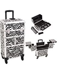 Sunrise I3764ZBWH Zebra 3 Tiers Accordion Trays 4 Wheels Professional Rolling Aluminum Cosmetic Makeup Craft Storage...