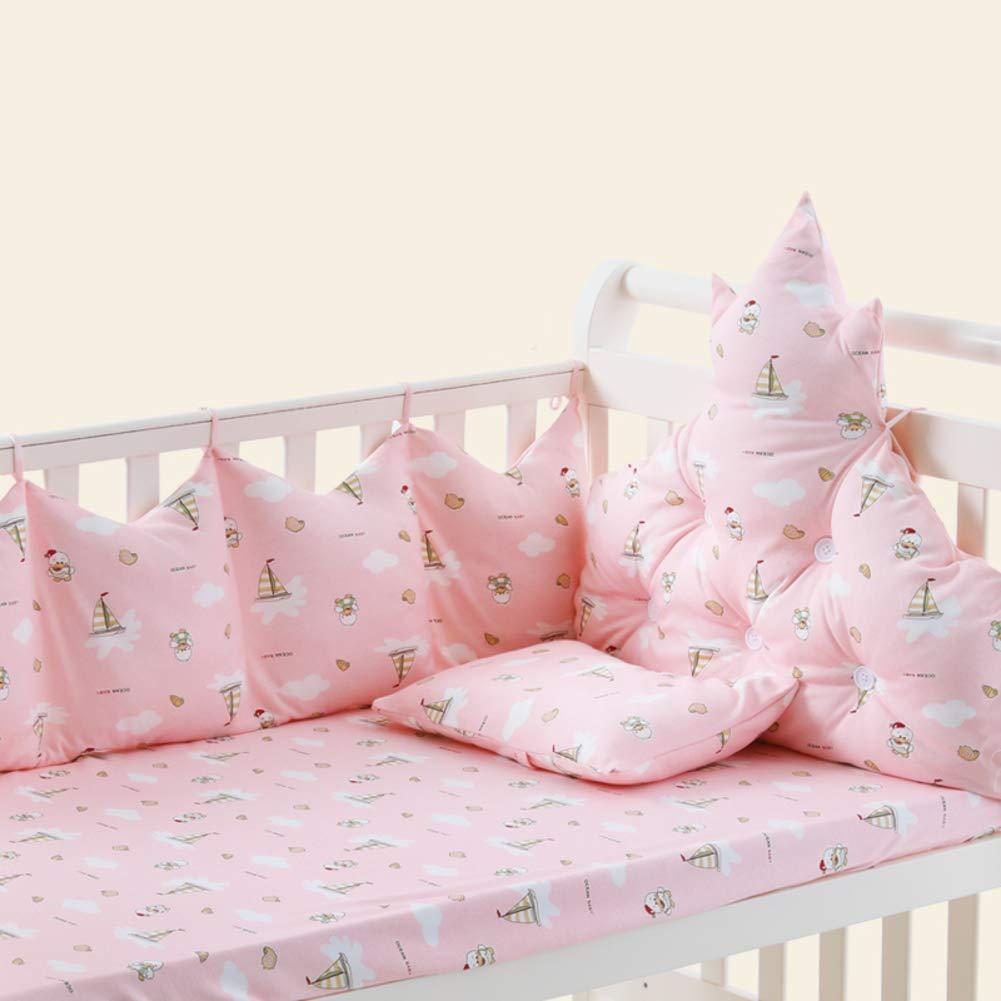 Xxn 4 個入りコットン ベビー寝具セット,バンパーのすべてのラウンド ユニセックス 無衝突赤ちゃんベビーベッド バンパー パッド入りベビーベッド バンパー2-防止アレルギー2-ピンク 120x65cm(47x26inch) 120x65cm(47x26inch) ピンク B07KY757T5