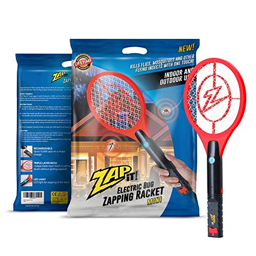 ZAP IT! Mini Bug Zapper - Rechargeable Mosquito, Fly Killer and Bug Zapper Racket - 4,000 Volt - USB Charging, Super-Bright LED Light to Zap in The Dark - Safe to Touch (Red)