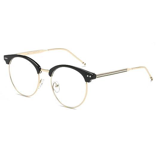 470bf1c57c84 D.King Vintage Optical Round Eyewear Eye Glasses Frame with Clear Lenses  Black Gold