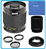 Bower 500mm f/8 Telephoto Mirror Lens + 2x Teleconverter = 1000mm For Canon Digital EOS Rebel SL1 (100D), T5i (700D), T4i (650D), T3 (1100D), T3i (600D), T1i (500D), T2i (550D), XSI (450D), XS (1000D), XTI (400D), XT (350D), 1D C, 70D, 60D, 60Da, 50D, 40D, 30D, 20D, 10D, 5D, Mark II, III, 1D X, 1D C, 1D Mark IV, 1D(s)Mark III, 1D(s)Mark II(N) , 5D Mark 2, 5D Mark 3, 7D, 6D Digital SLR Cameras