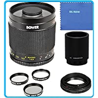 Bower 500mm f/8 Telephoto Mirror Lens + 2x Teleconverter = 1000mm For Canon Digital EOS Rebel SL1 (100D), T5i (700D), T4i (650D), T3 (1100D), T3i (600D), T1i (500D), T2i (550D), XSI (450D), XS (1000D), XTI (400D), XT (350D), 1D C, 70D, 60D, 60Da, 50D, 40D, 30D, 20D, 10D, 5D, Mark II, III, 1D X, 1D C, 1D Mark IV, 1D(s)Mark III, 1D(s)Mark II(N) , 5D Mark 2, 5D Mark 3, 7D, 6D Digital SLR Cameras
