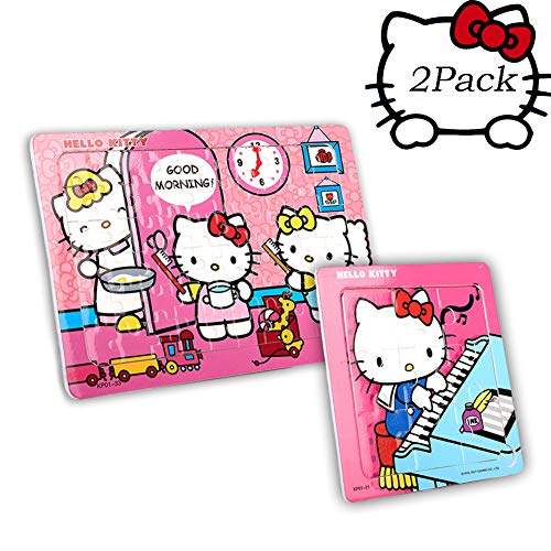 Hello Kitty 2 in 1 Puzzles for Kids 60 Pieces and 9 Pieces Jigsaw Puzzle for Children Toys Ages 4-8 Gifts (Lovely Cat)]()