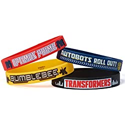 """Mighty Transformers Birthday Party Rubber Bracelet Favour, Pack Of 4, Multi , 2"""" X"""", Rubber"""