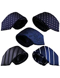 Driew Zipper Casual Tie Classic Patterns Formal Necktie Neckcloth for Man Pack of 5