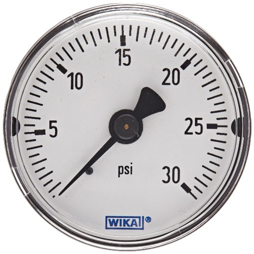 WIKA 4302028 Commercial Pressure Gauge, Dry-Filled, Copper Alloy Wetted Parts, 2