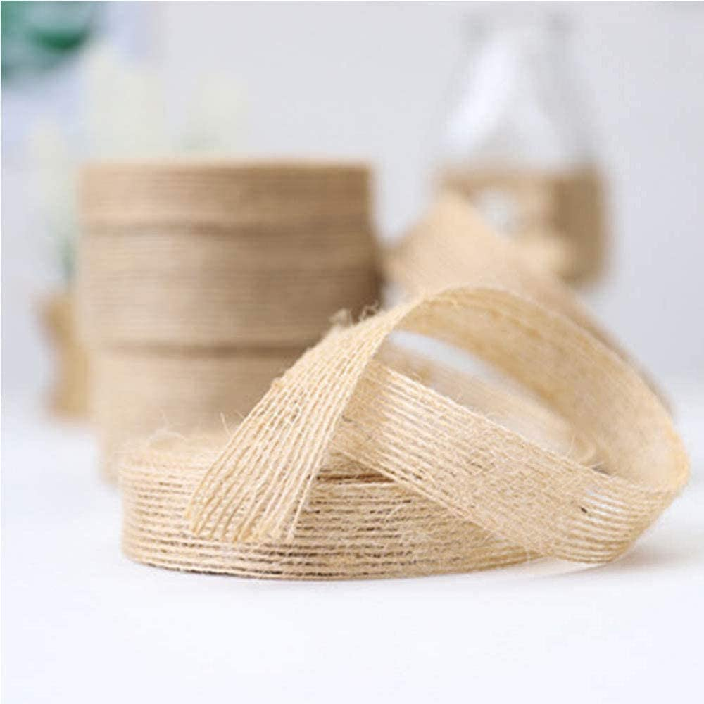 Manualidades Hechas a Mano 3 Rollos de Cinta de Arpillera Arpillera de Yute Craft Ribbon 1,5 cm, 2,5 cm, 3,8 cm Natural Crafts Cuerda de Yute Adornos Navide/ños para Embalaje de Regalo