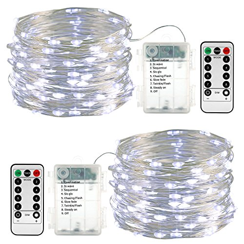 Lyhope 2 Pack Fairy Lights Christmas, Battery Operated Waterproof 8 Modes with Remote Control 33ft 100 Led Copper String Lights for Outdoor & Indoor, Decoration (Cool White)