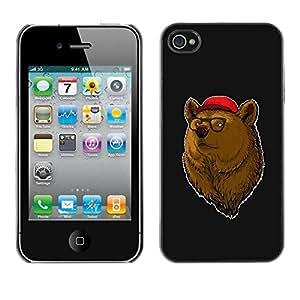 PC/Aluminum Funda Carcasa protectora para Apple Iphone 4 / 4S Cool Hipster Bear / JUSTGO PHONE PROTECTOR