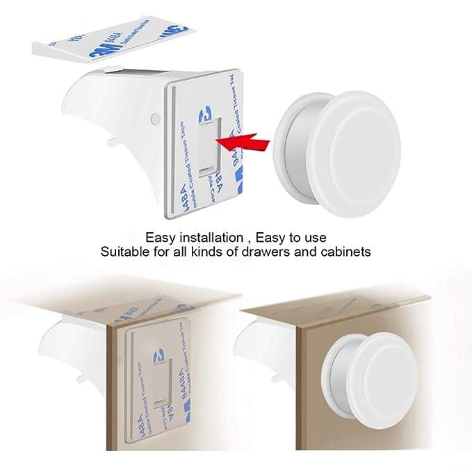 Fusible para ni/ños para cocinas Seguridad para beb/és Puerta de gabinete im/án Invisible yuyte Cerradura de casillero Cerradura de Seguridad c/ómoda 16 cerraduras y 3 Llaves