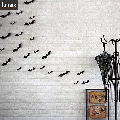 fumak 12 Pieces Black Attractive 3D Bat Sticker Removable Wall Sticker Halloween Festival DIY Sticker Home Decoration