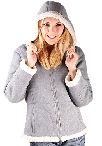 Woodland Supply Co. Women's Sherpa Lined Hooded Fleece Zip Jacket,Medium,Heather Grey/Cream