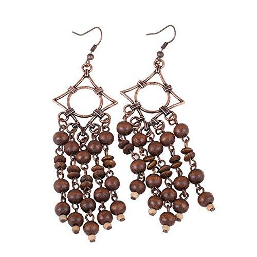 Long Wooden Tassel Earrings Wishesport Antique Copper Wood Bead Earrings and Cubic Ear Hook for Women