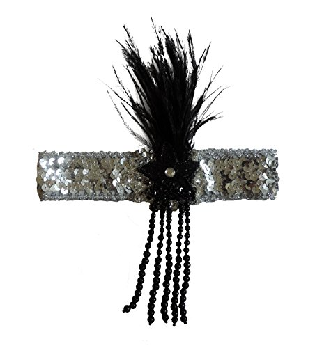 Beaded Silver Flapper Head Band Hair Piece w/ Black Feather (Las Vegas Showgirl Outfits)