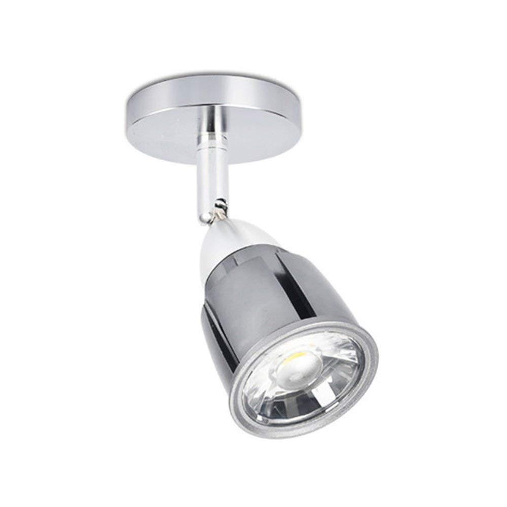 KSDGQ Aluminium LED Deckenspot Schwenkbar Deckenstrahler Einstellbar Warmweiß Licht Spotleuchte Modern Einfach Deckenlampe Schlafzimmerleuchte Runde Silber 210 Lumen 3W 4500K Ø50 H70mm