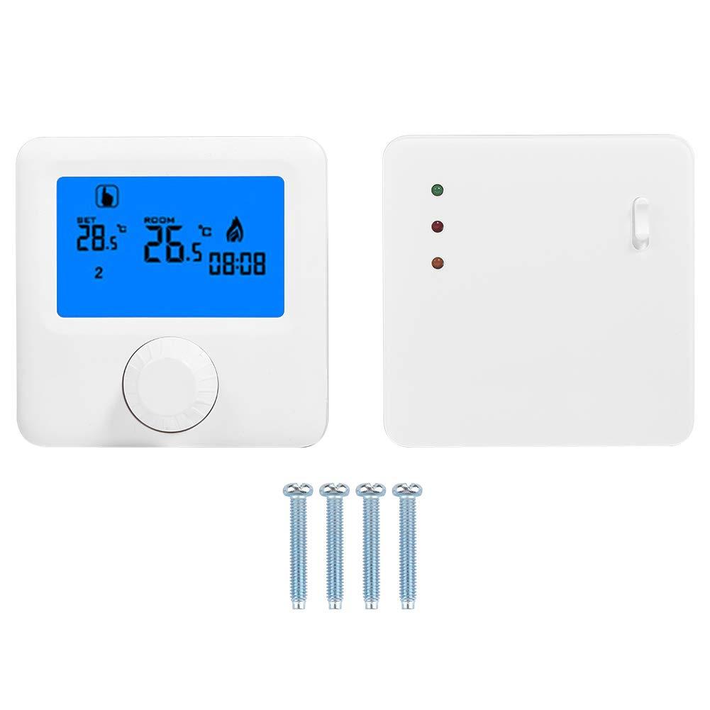 Termostato digital, controlador de temperatura de termostato de calefacción inalámbrico LCD digital LCD para caldera de pared