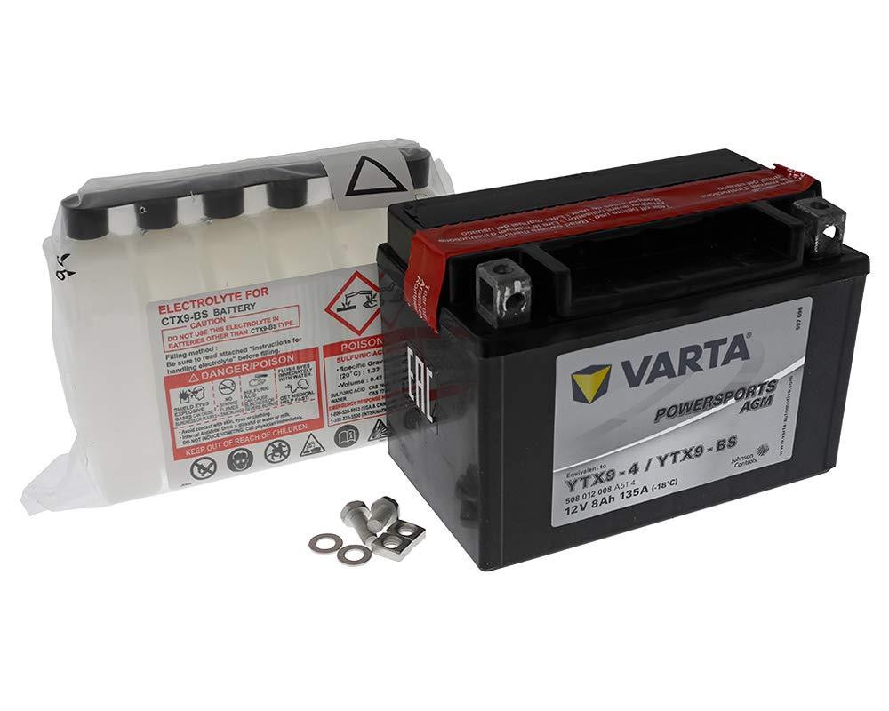 Batterie VARTA Powersports AGM YTX9-BS / YTX9-4 fü r KAWASAKI ZX-9R 900ccm 98-02 [ inkl.7.50 EUR Batteriepfand ]