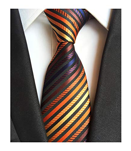 - Mens Bronze Black Narrow Stripe Party Ties Elegant Banquet Formal Prom Necktie